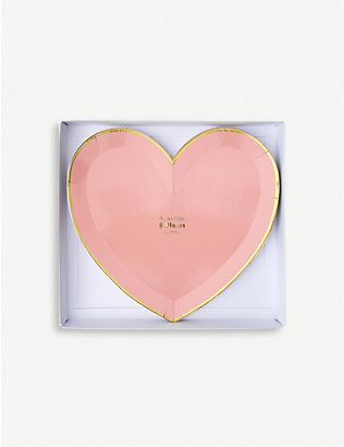 VALENTINES: Party Palette heart large plates set of eight