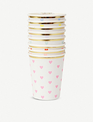 VALENTINES Graphic-print party cups set of eight