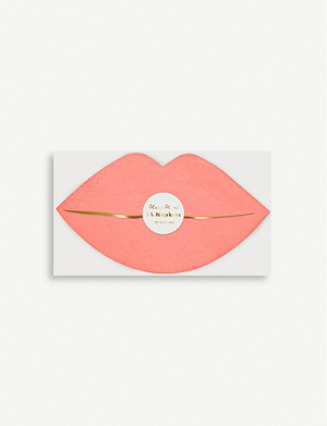 VALENTINES Pink lips napkin set of 16