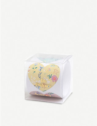 VALENTINES: Wildflower heart stickers roll of 50