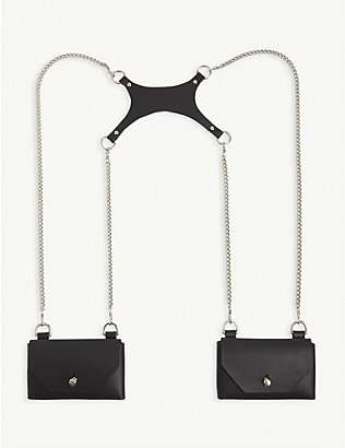 FLEET ILYA: Double-pocket small leather harness