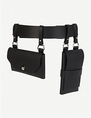 FLEET ILYA: Double-pocket silver and leather belt
