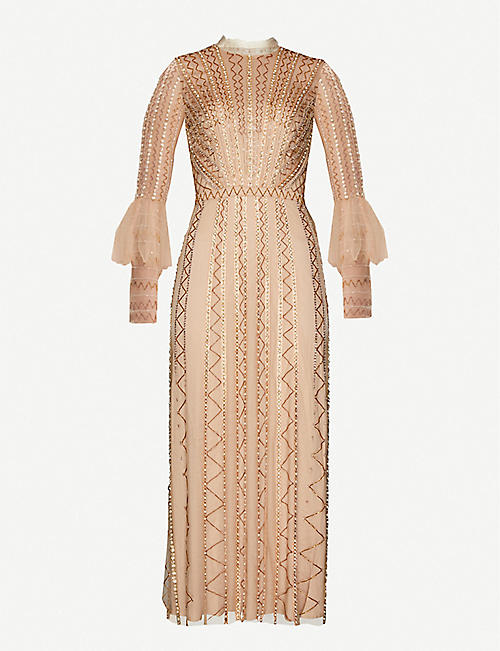TEMPERLEY LONDON: Queenie bead and faux-pearl embellished tulle maxi dress