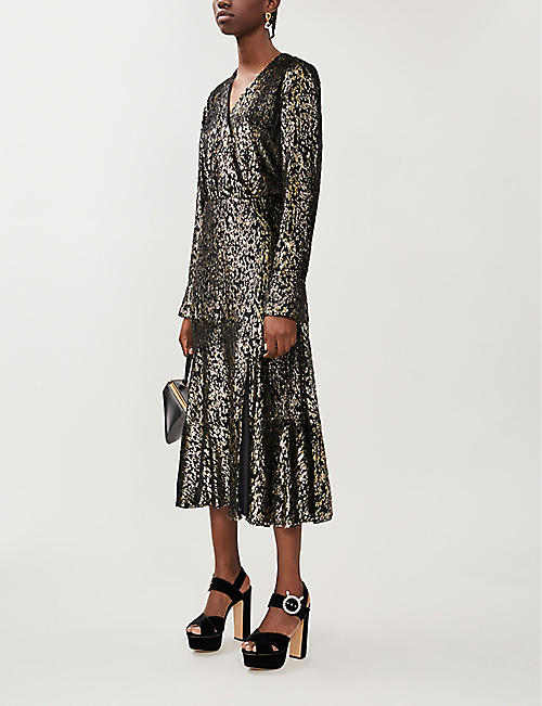 ALTUZARRA Martha V-neck metallic-velvet jacquard midi dress