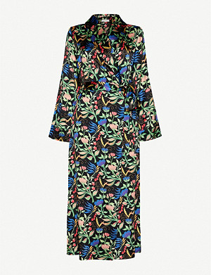 YOLKE Anaïs-print stretch silk-satin dressing gown
