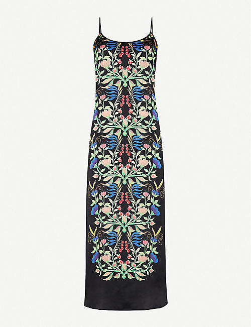 YOLKE Juno Anaïs-print stretch-silk night dress