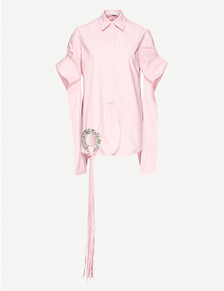 JW ANDERSON: Crystal-embellished cotton shirt