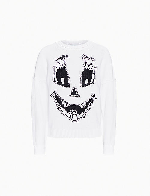 MOSCHINO Ghost-embroidered cotton-knit jumper