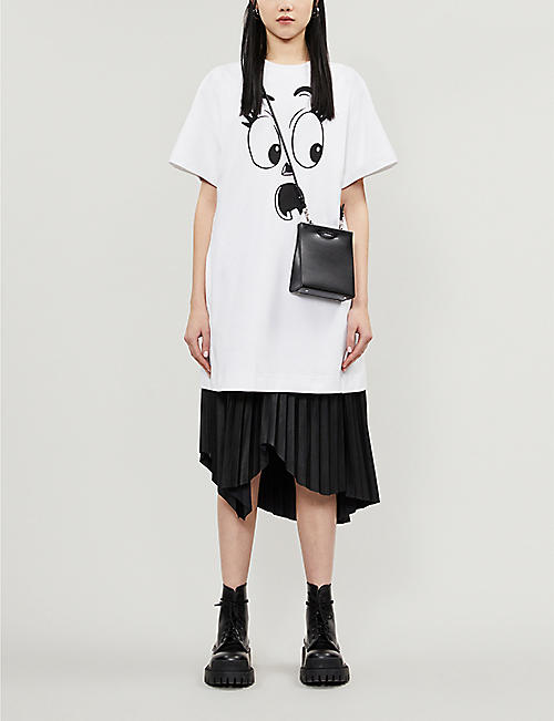 MOSCHINO Ghost-print cotton-blend jersey dress