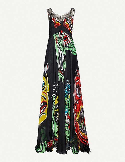 MOSCHINO Graphic-print crepe maxi dress