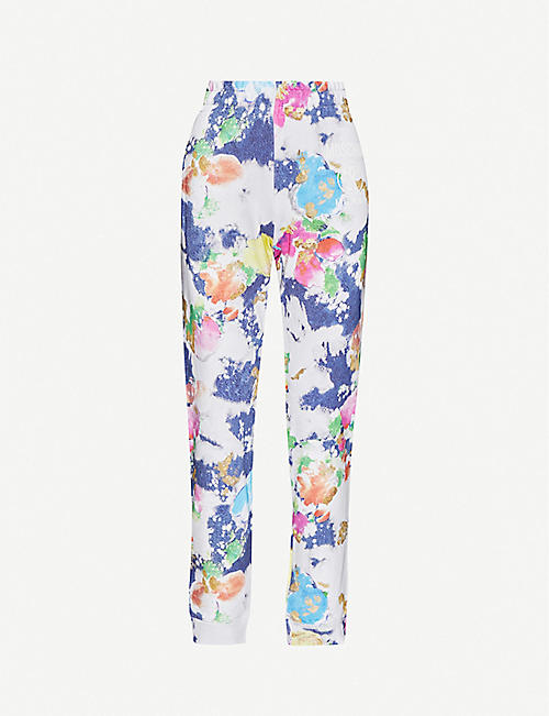 MOSCHINO Paint-print tapered cotton-jersey jogging bottoms