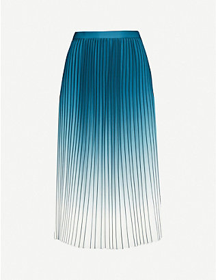 REISS: Mila ombre pleated midi skirt