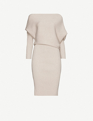 REISS Lara off-the-shoulder knitted midi dress