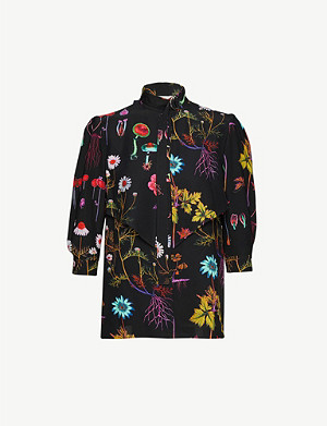 STELLA MCCARTNEY Floral-print silk-crepe blouse