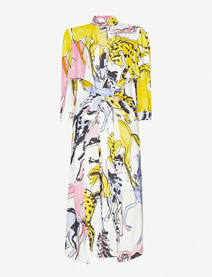 STELLA MCCARTNEY High-neck horse-print stretch-crepe midi dress