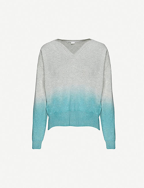 STELLA MCCARTNEY Gradient-pattern cashmere and wool-blend jumper