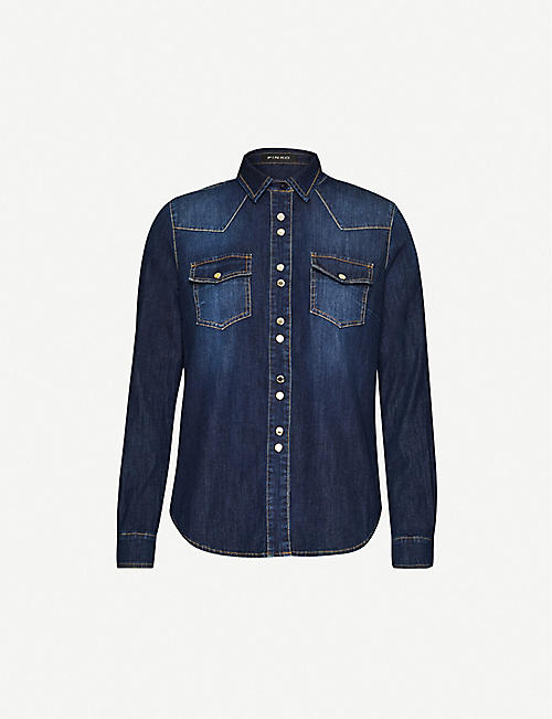 PINKO: Caroline stretch-denim shirt