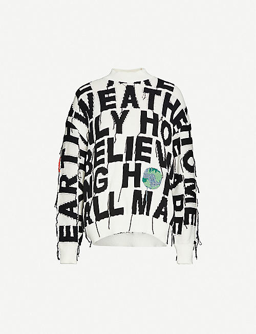 STELLA MCCARTNEY Text-pattern cotton-knit jumper