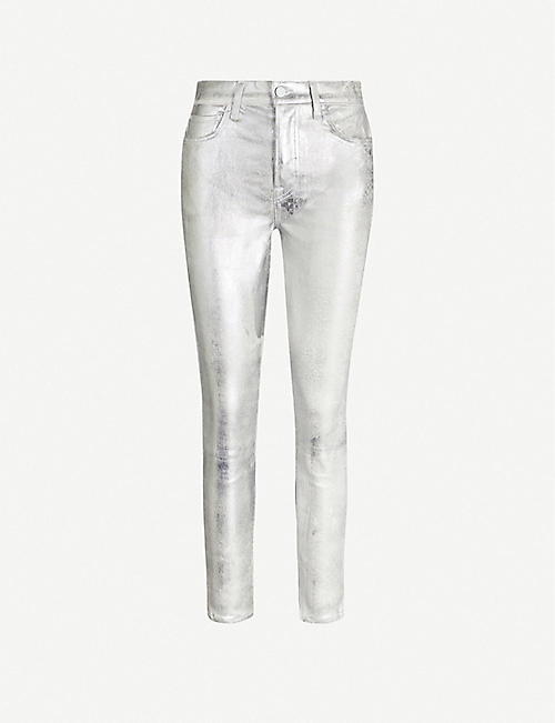 GRLFRND Karolina cropped skinny high-rise metallic trousers