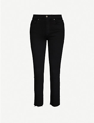 GRLFRND: Reed mid-rise slim-fit cropped jeans