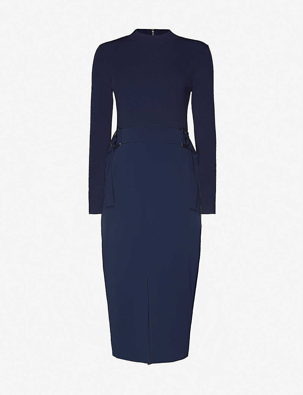 TED BAKER: Belted knitted and stretch-crepe midi dress