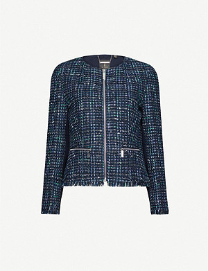 TED BAKER Bouclé-print cotton-blend jacket