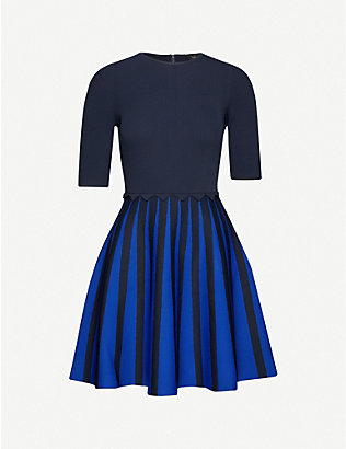 TED BAKER: Salyee pleated stretch-jersey mini dress