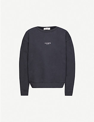 ACNE STUDIOS: Logo-printed cotton-jersey jumper