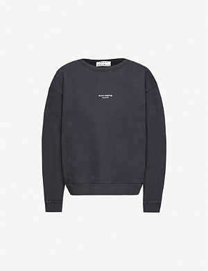 ACNE STUDIOS Logo-printed cotton-jersey jumper
