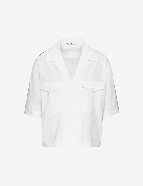 ACNE STUDIOS: Camp-collar boxy-fit cotton shirt