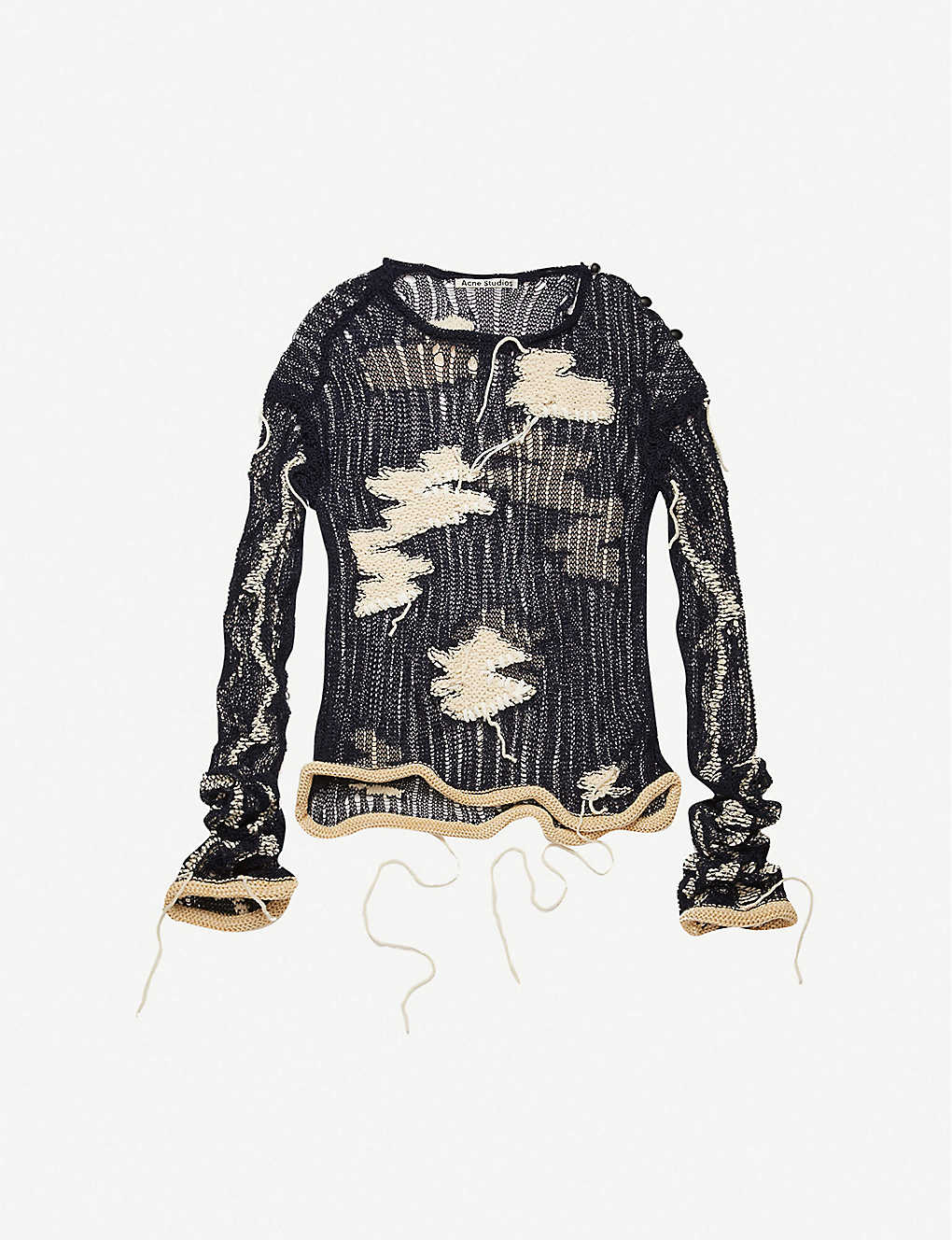 ACNE STUDIOS: Distressed cotton-blend knitted top