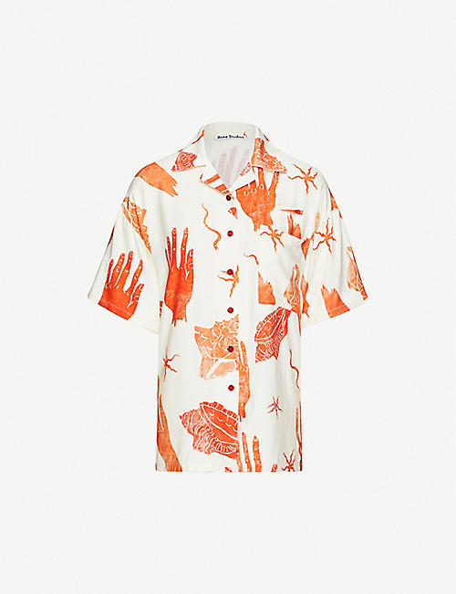 ACNE STUDIOS: Abstract-print crepe shirt