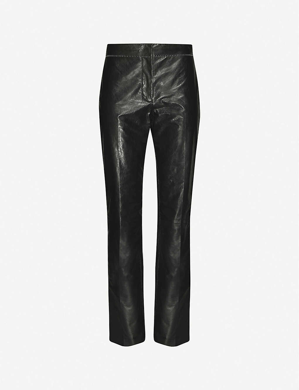 ACNE STUDIOS: High-rise straight-leg leather trousers