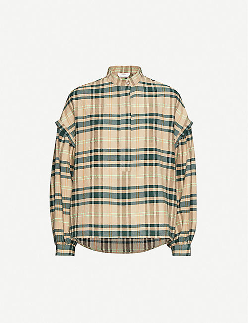 IBEN Charles checked bishop-sleeved crepe shirt