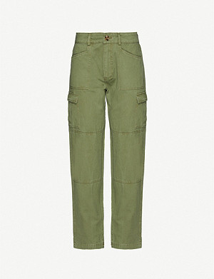 IBEN Calvin straight high-rise cotton-twill trousers