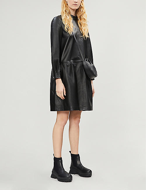 IBEN Cay gathered-waist leather mini dress