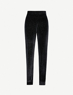 BEACH RIOT Josie metallic velvet jogging bottoms