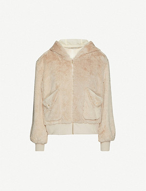 BEACH RIOT Fuzzy faux-fur zip-up jacket