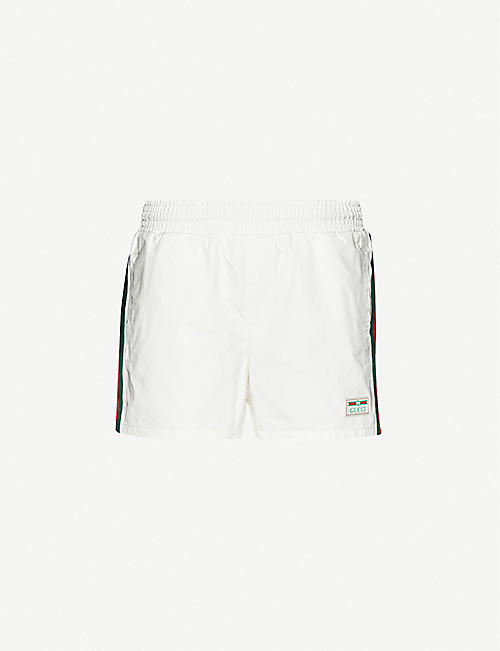 GUCCI: Striped-trim relaxed-fit swim shorts