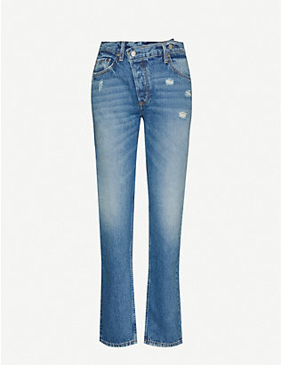 BOYISH: Casey Crossover high-rise straight jeans