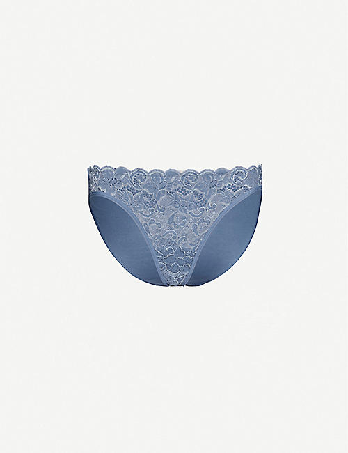 HANRO Moments high-rise floral-lace and cotton briefs