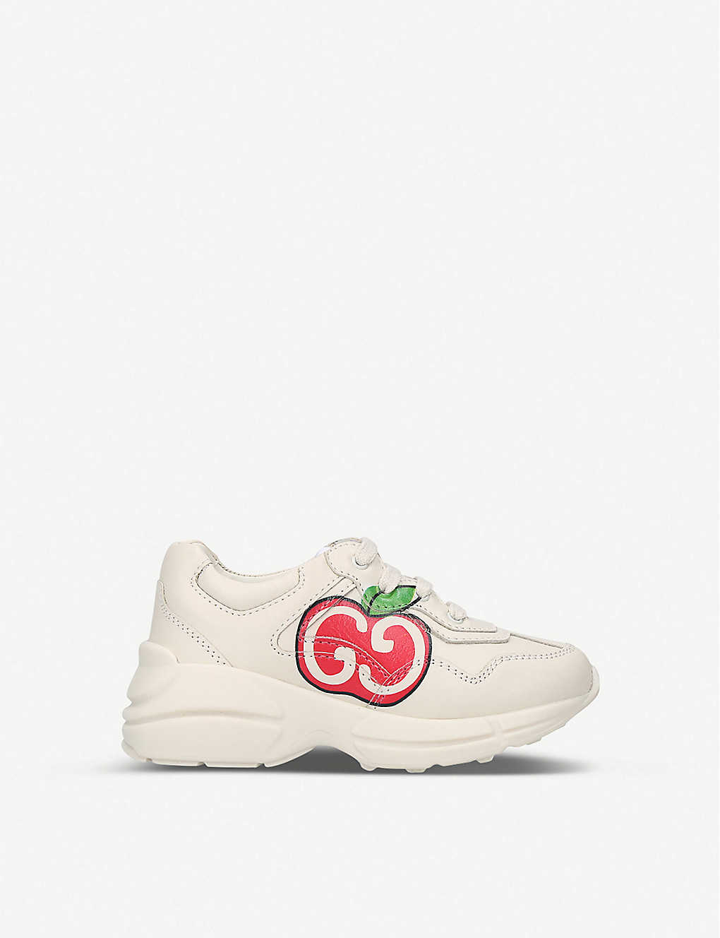 GUCCI: Rhyton apple-print leather trainers 3-5 years