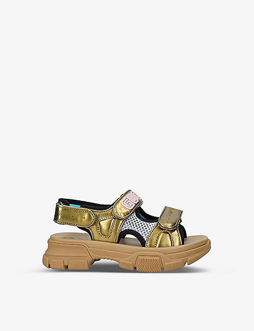 GUCCI: Aguru Trek brand-embellished leather sandals 5-7 years