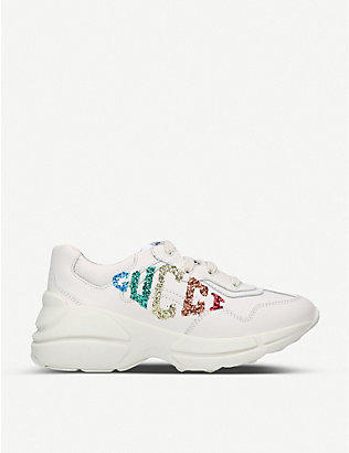 GUCCI: Rhyton glitter-embellished leather trainers 5-8 years
