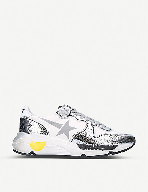 GOLDEN GOOSE Running Sole A6 crackled metallic-leather trainers