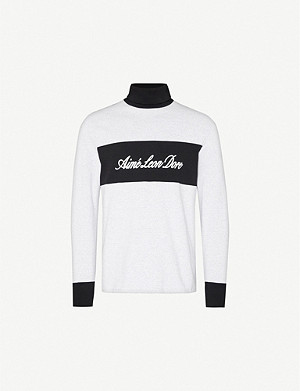 AIME LEON DORE Striped colour-blocked cotton-jersey sweatshirt