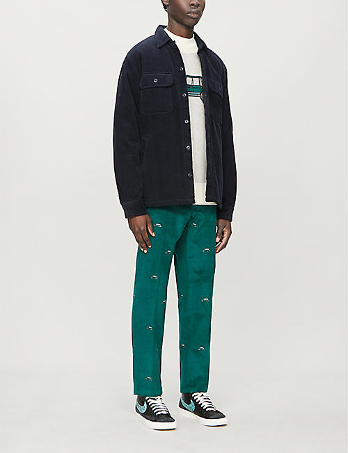 AIME LEON DORE Graphic-embroidered relaxed-fit tapered corduroy trousers