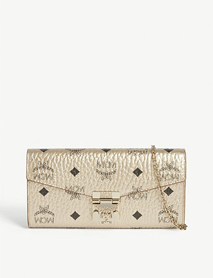 MCM Patricia metallic leather wallet on chain