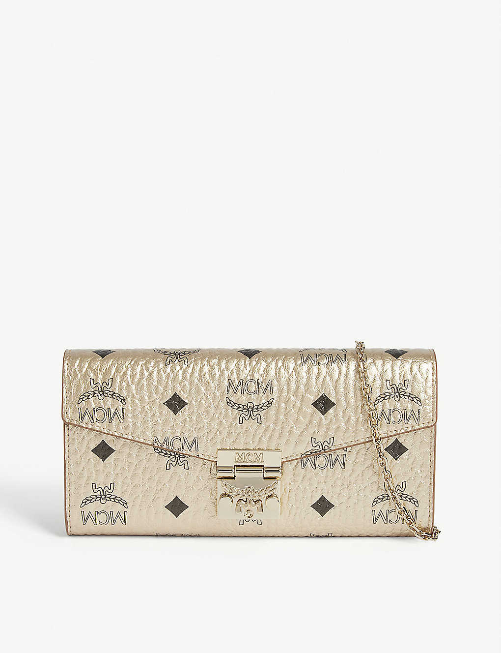 MCM: Patricia metallic leather wallet on chain