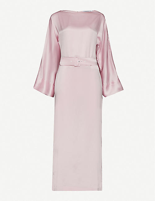 BERNADETTE Jackie belted silk-satin midi dress